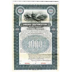 Virginia and Southwest Railway Co. 1902 Specimen Bond