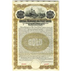 Chicago, Milwaukee and Puget Sound Railway Co., 1909 Specimen Bond