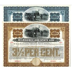 Milwaukee and State Line Railway Co, 1906 Specimen Registered Bond Pair.