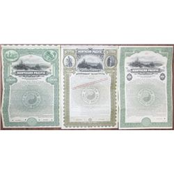 Northern Pacific Railway Co., 1896 to 1914 Specimen Bond Trio