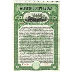 Wisconsin Central Railway Co., 1909 Specimen Bond