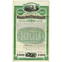 Milwaukee, Peoria & St. Louis Railroad Co., 1886 Specimen Bond Rarity
