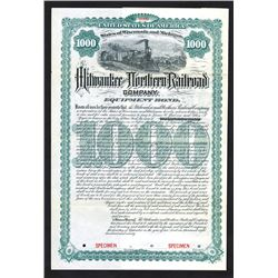 Milwaukee and Northern Railroad Co., 1890 Specimen Bond