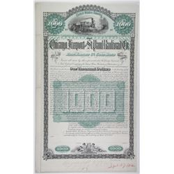 Chicago, Freeport and St. Paul Railroad Co., 1884 Unique Approval Proof Bond.