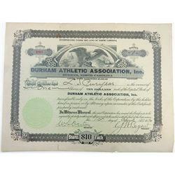 Durham Athletic Association, Inc., 1916 Stock Certificate