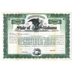 State of Alabama, 1899 Specimen Bond