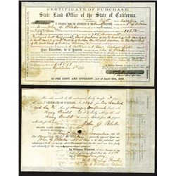 California. State Land Office of the State of California 1861, I/U Certificate of Purchase
