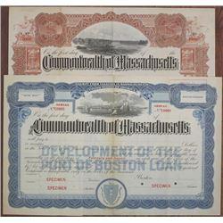 Commonwealth of Massachusetts, 1900 to 1920 Specimen Bond Pair
