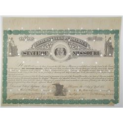 State of Missouri 1875 I/C Bond Signed by the Governor Hardin.