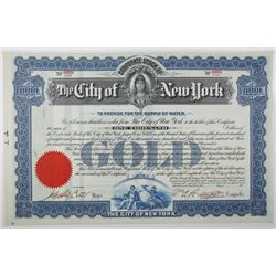 City of New York, To Provide for the Supply of Water 1909 Specimen Bond