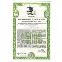 Commonwealth of Puerto Rico 1973 Specimen Bond