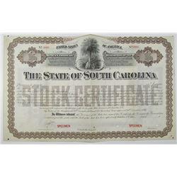 State of South Carolina 1890 Specimen Registered Bond-Stock