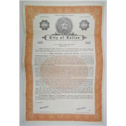 City of Dallas, 1953 Specimen 2.5% City Hall Building Coupon Bond, VF ABNC