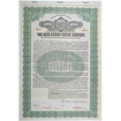 Alto Cedro Sugar Co. 1916 Specimen Bond