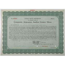 Compania Azucarera Andres Gomez Mena 1925 Specimen Stock Certificate