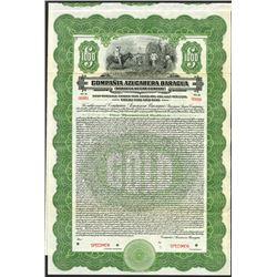 Compania Azucarera Baragua (Baragua Sugar Co), 1922 Specimen Bond