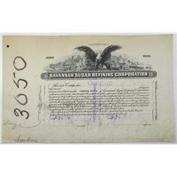 Savannah Sugar Refining Corp., ca. 1920-30's, Progress Proof Stock Certificate