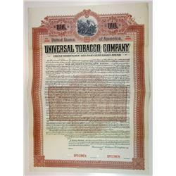 Universal Tobacco Co. 1903 Specimen $100 6% Gold Coupon Bond VF ABN