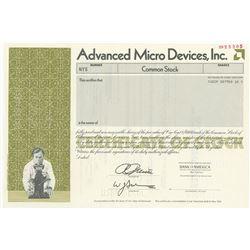 Advanced Micro Devices, Inc. 1990 Specimen Stock Cert. Odd Shares olive green