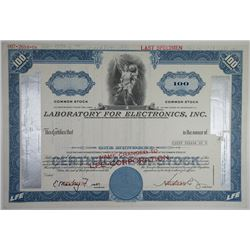 Laboratory for Electronics, Inc. 1971 Specimen Stock Certificate 100 Shrs XF ABN