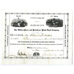 Wilkes-Barre and Providence Plank Road Co., 1853 I/U Stock Certificate.