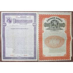 Edison Electric Company 1899 & 1905 Specimen Bond Pair