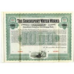 Shreveport Water Works Co., 1902 Specimen Bond