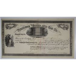 Tidioute Water & Gas Co., 1873 I/C Stock Certificate
