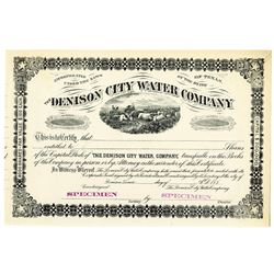 Texas. Denison City Water Co., 1880's Specimen Stock Certificate