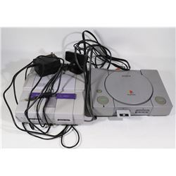 2 VINTAGE GAMING SYSTEMS - SUPER NINTENDO & PS1