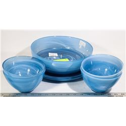 BOX OF NEW BLUE DISHES