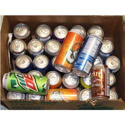BOX OF CANNED POP, ASSORTED FLAVOURS