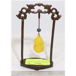 JADEITE PENDANT ON ROSEWOOD STAND JEWELRY