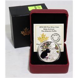 2014 SILVER $20 ATLANTIC PUFFIN  COIN