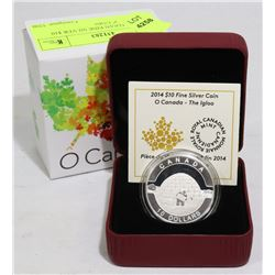 """2014 CANADIAN FINE SILVER $10 """"THE IGLOO"""" COIN"""