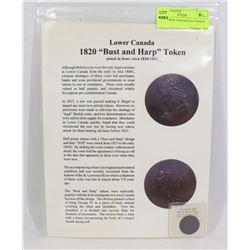 1820 LOWER CANADA HALF PENNY TOKEN