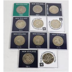 x11 NEW ZEALAND VARIOUS 1 CROWN COINS