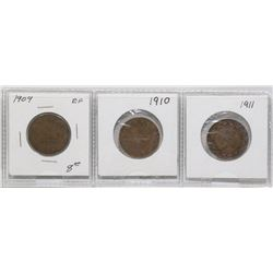 1909, 1910, 1911 CANADIAN LARGE PENNIES-SET OF 3
