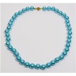 """#3-SKY BLUE SEA SHELL PEARL NECKLACE 10mm/15"""""""