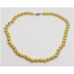 """#22-GOLDEN SEA SHELL PEARL NECKLACE 8mm/15"""""""