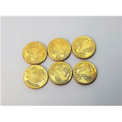 15)  LOT OF 6 24KT GOLD PLATED MINI ST.