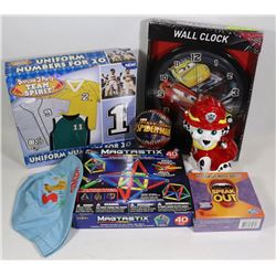 BOX OF KIDS ITEMS (MOST NEW) INCLUDES