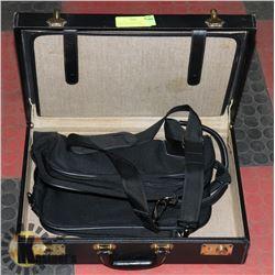 VINTAGE BLACK LEATHER BRIEFCASE W/SHOULDER BAG