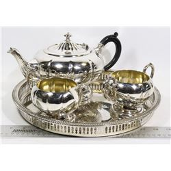 SILVERPLATE TEA SET WITH TRAY
