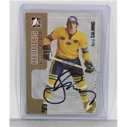 BORJE SALMING SWEDEN AUTOGRAPHED CARD HALL OF FAME