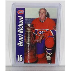 HENRIL RICHARD MONTREAL CANADIENS SIGNED CARD HOF
