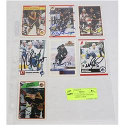 LOT OF 7 VANCOUVER CANUCKS AUTOGRAPHED CARDS