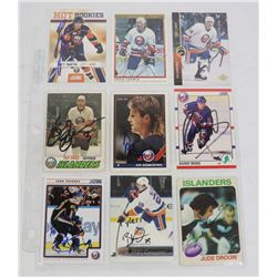 LOT OF 9 AUTOGRAPHED NEW YORK ISLANDERS CARDS