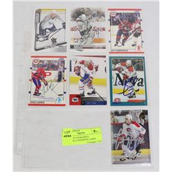 LOT OF 7 AUTOGRAPHED MONTREAL CANADIENS CARDS