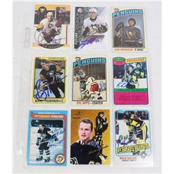 LOT OF 8 PITTSBURGH PENGUINS AUTOGRAPHED CARDS